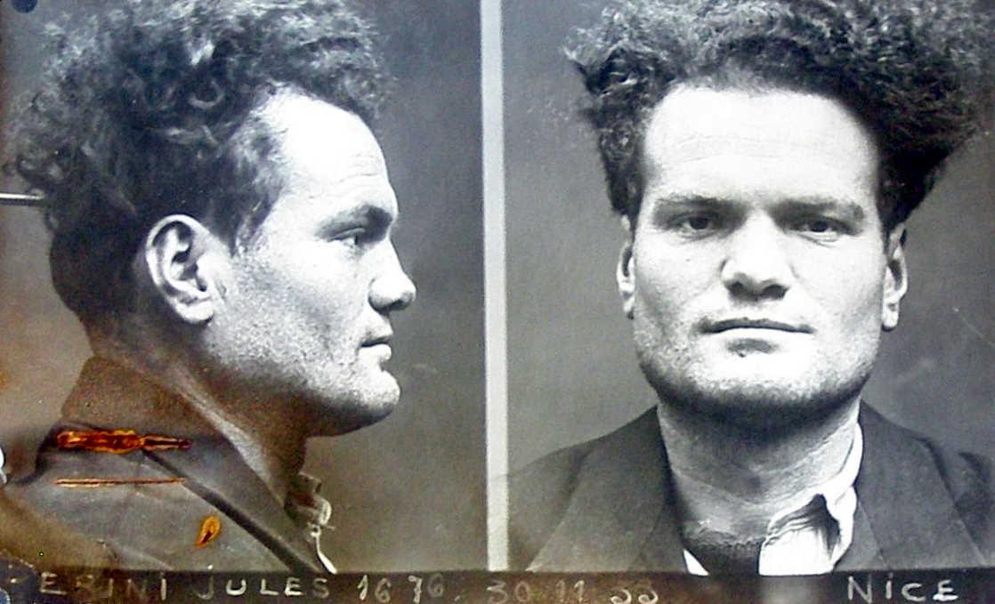 Foto antropomètrica de Giulio Perini de la policia de Niça (30 de novembre de 1933)