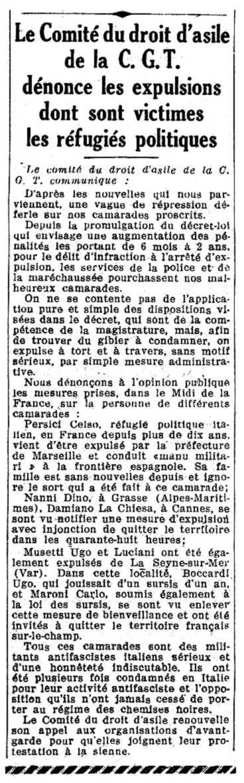 """Notícia de l'expulsió de Damiano La Chiesa, i d'altres companys, apareguda en el diari socialista parisenc """"Le Populaire"""" del 22 de novembre de 1935"""