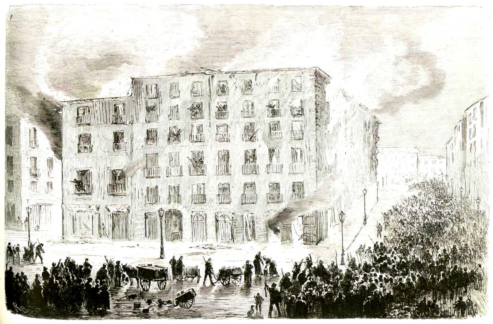 """Incendi pels petroliers de la illeta de cases del carrer del Mercat segons """"La Ilustración Española y Americana"""" del 24 de juliol 1873"""