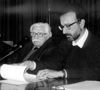 Placido La Torre (izquierda) con Santi Fedele, director del Instituto de Estudios Históricos «Gaetano Salvemini», durante el acto de homenaje (Messina, 24 de noviembre de 2006)