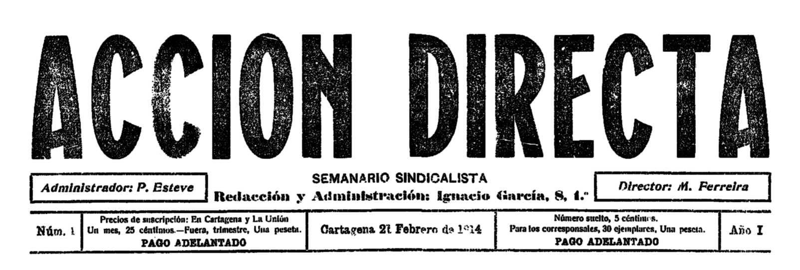 "Capçalera del primer número d'""Acción Directa"""