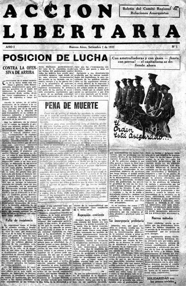 """Portada del primer número d'""""Acción Libertaria"""""""