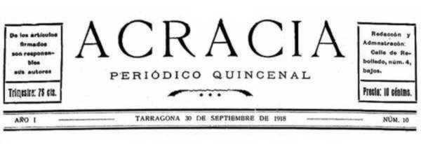 """Capçalera d'""""Acracia"""""""