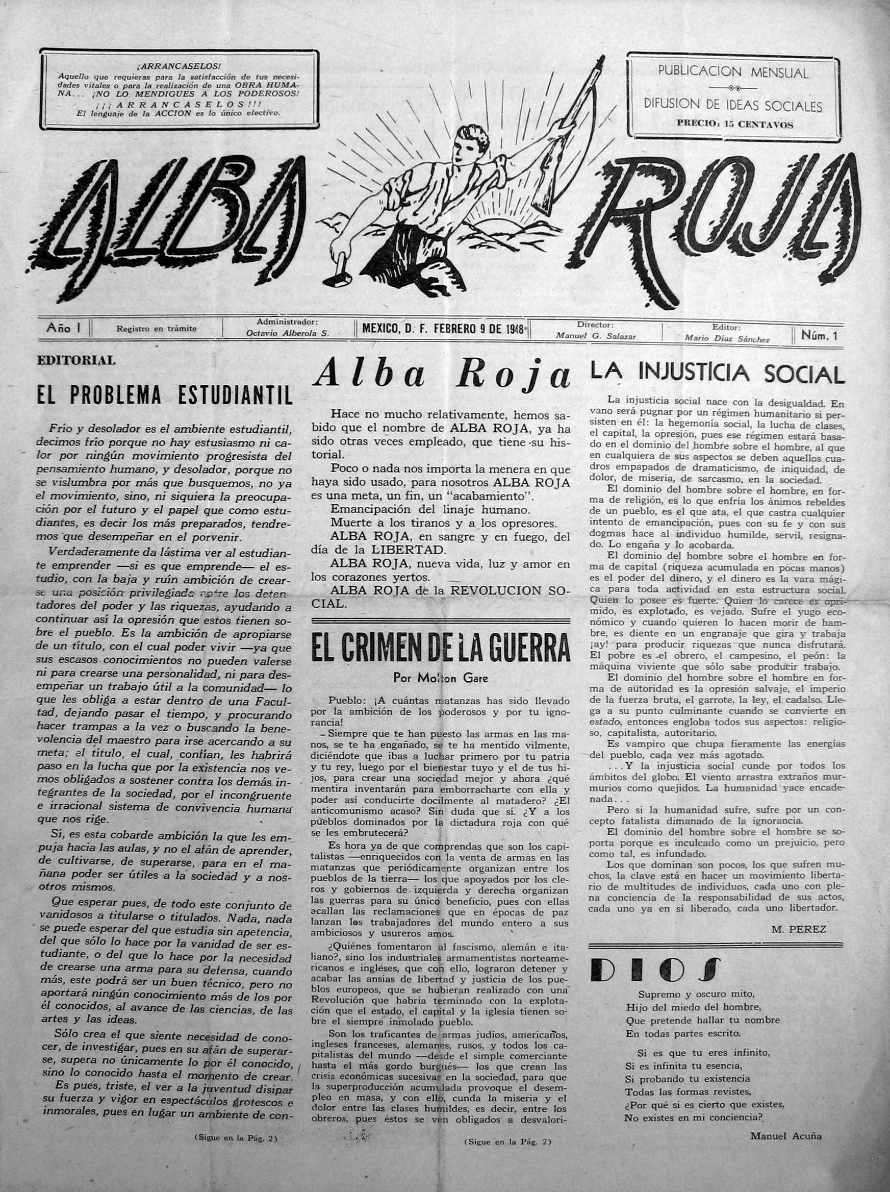 """Portada del primer número de """"Alba Roja"""" [CIRA-Lausana] Foto: Éric B. Coulaud"""
