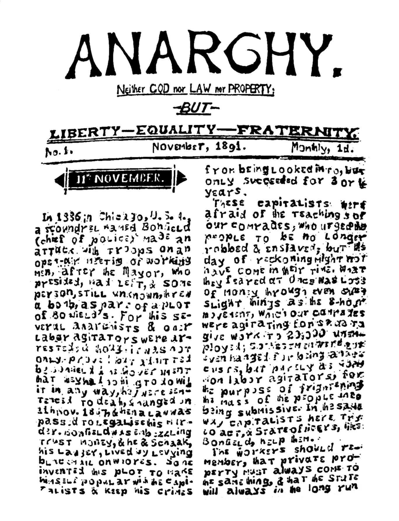 "Portada del primer número d'""Anarchy"""
