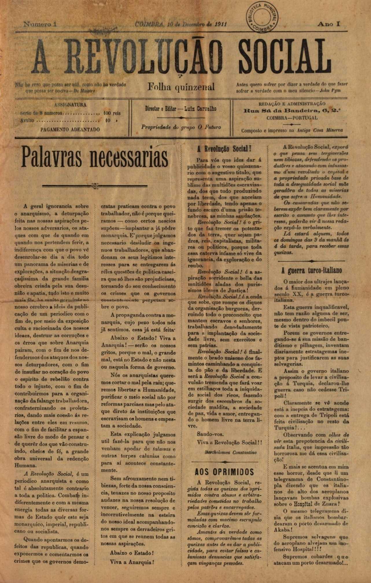 """Portada del primer número d'""""A Revolução Social"""""""
