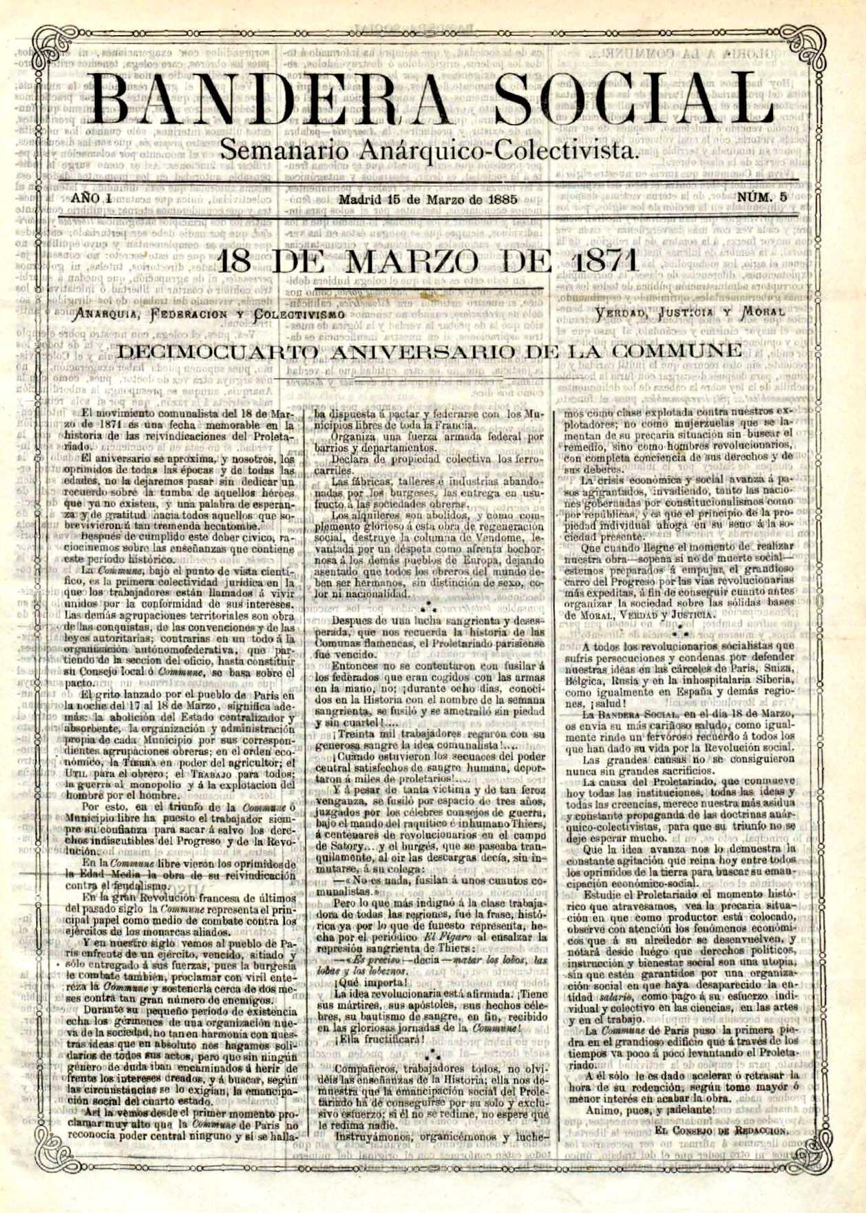 """Portada d'un exemplar de """"Bandera Social"""""""