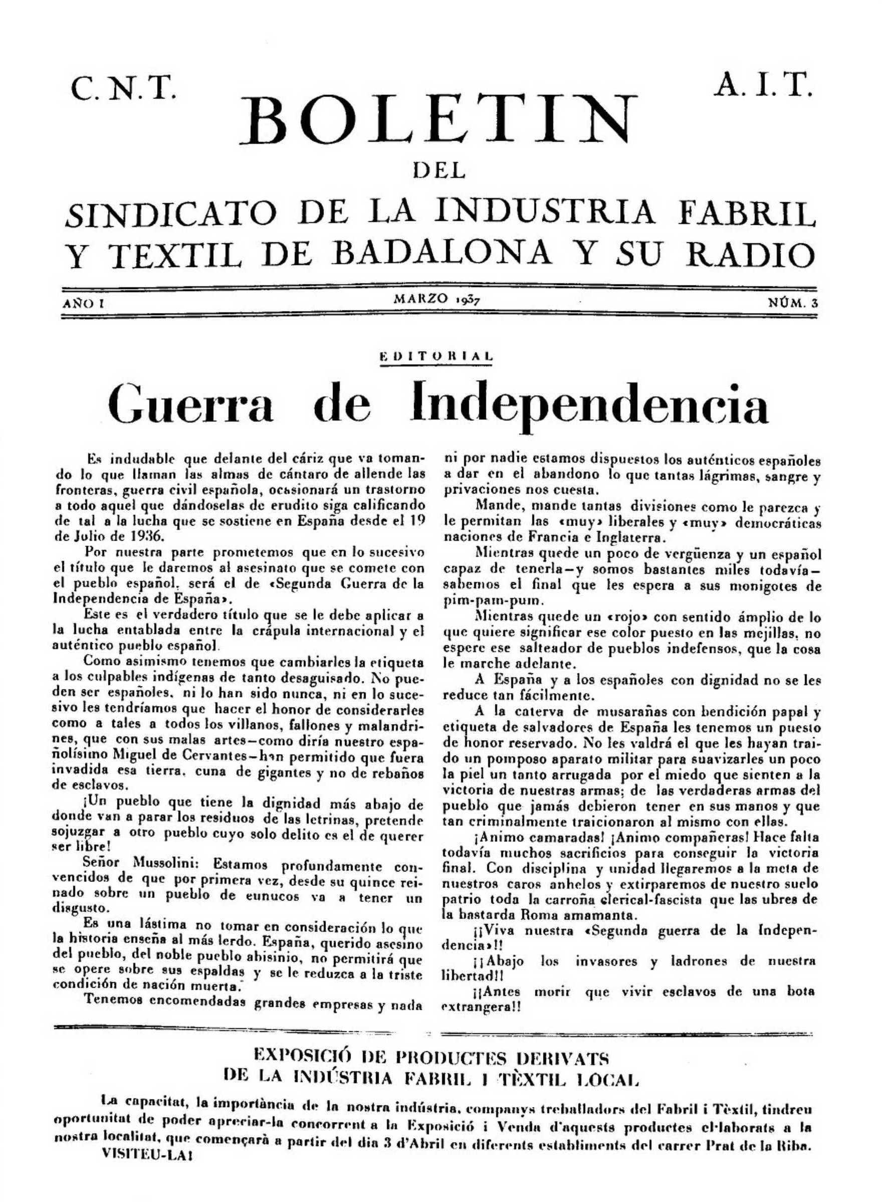 """Portada d'un número del """"Boletín del Sindicato de la Industria Fabril y Textil de Badalona y su radio"""""""