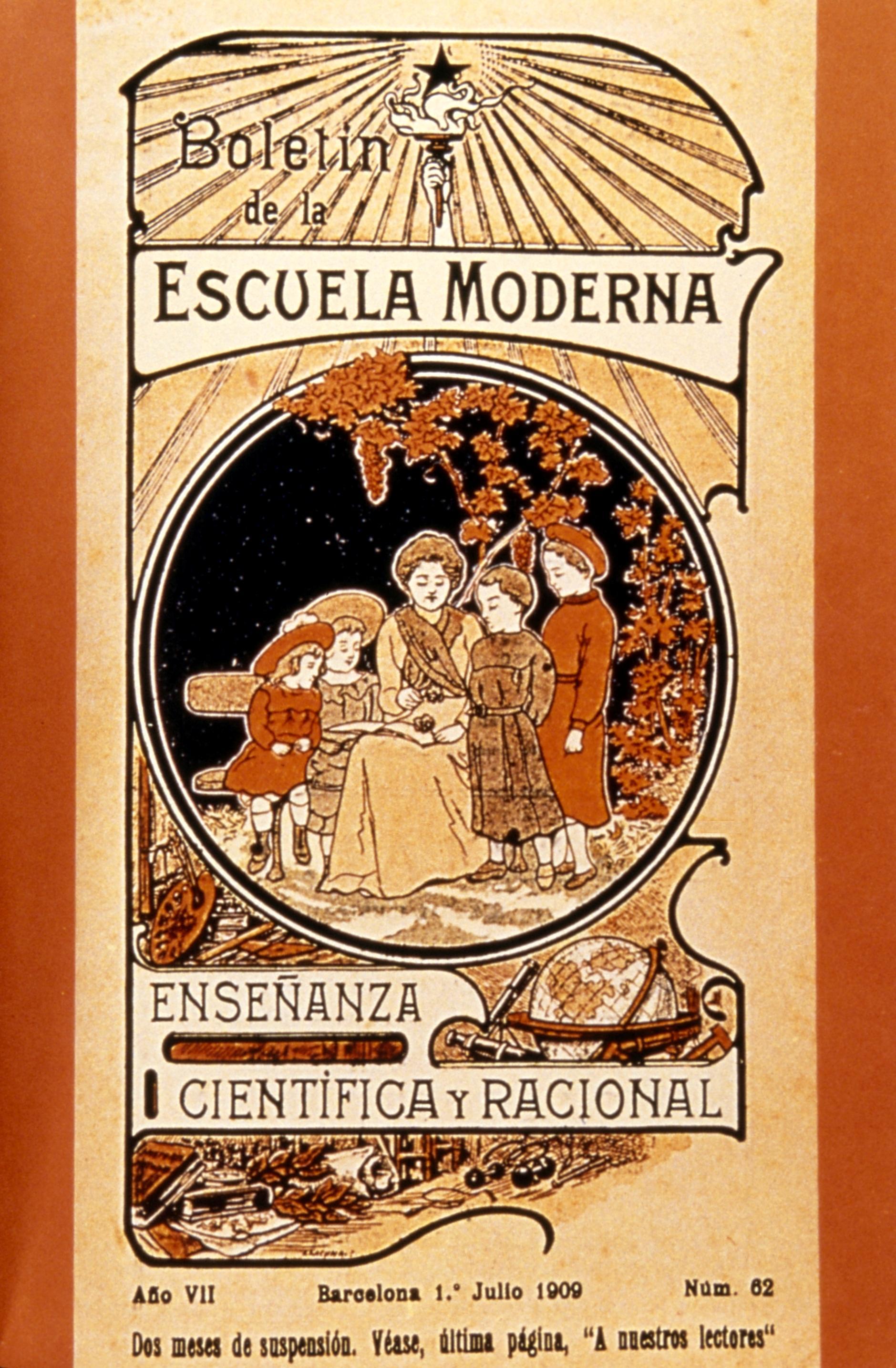 """Portada de l'últim número del """"Boletín de la Escuela Moderna"""""""