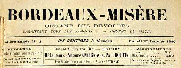 """Capçalera del primer i únic número de """"Bordeaux-Misère"""""""