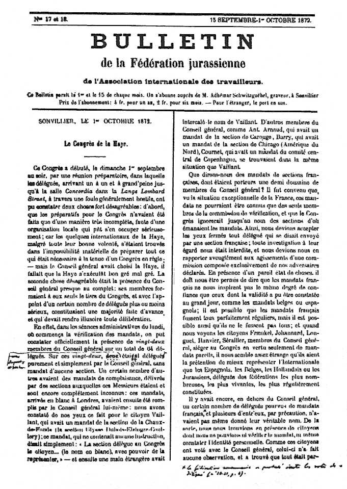 "Exemplar del ""Bulletin de la Fédération Jurassienne"" anotat per James Guillaume"