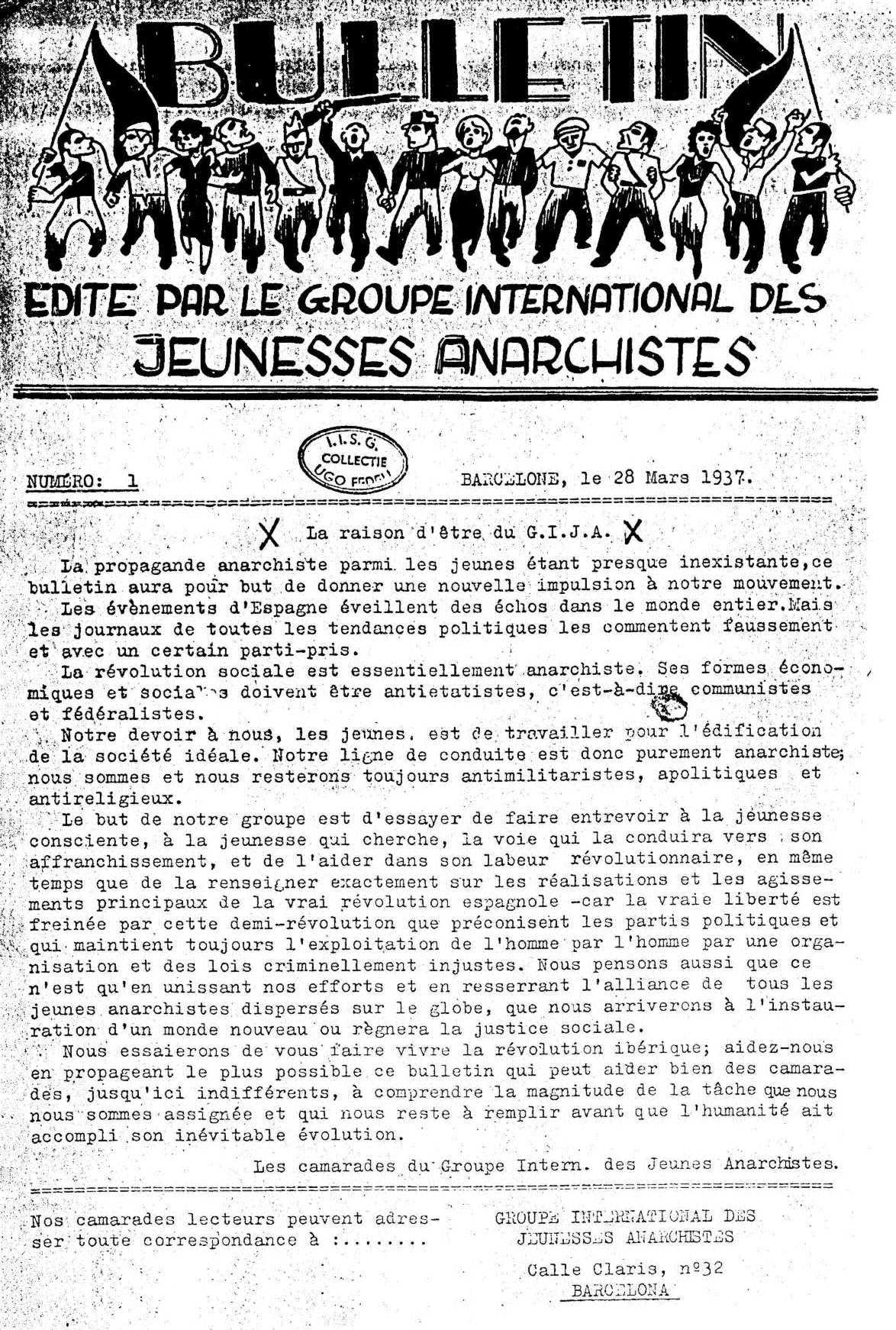 """Portada del primer número del """"Bulletin"""" del GIJA [IISH]"""
