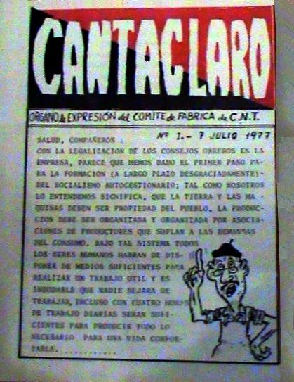 """Portada del número 1 de """"Cantaclaro"""""""