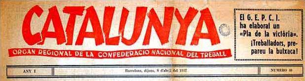 """Capçalera de """"Catalunya"""""""