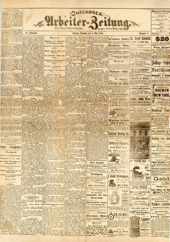 """Un exemplar del """"Chicagoer Arbeiter-Zeitung"""""""
