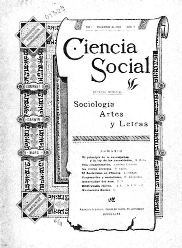 """Portada d'un exemplar de """"Ciencia Social"""""""