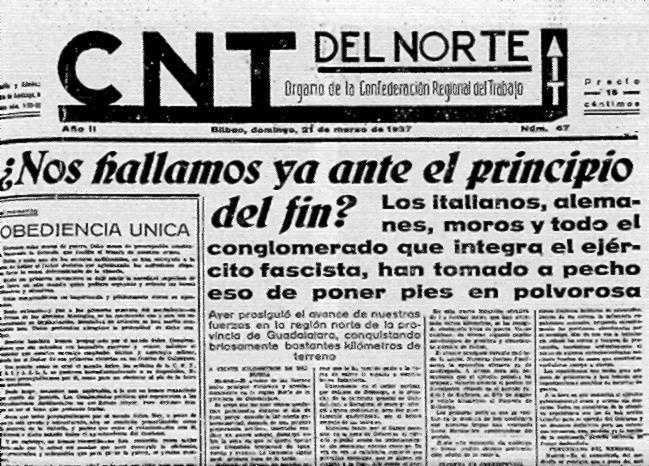 """Capçalera de """"CNT del Norte"""""""