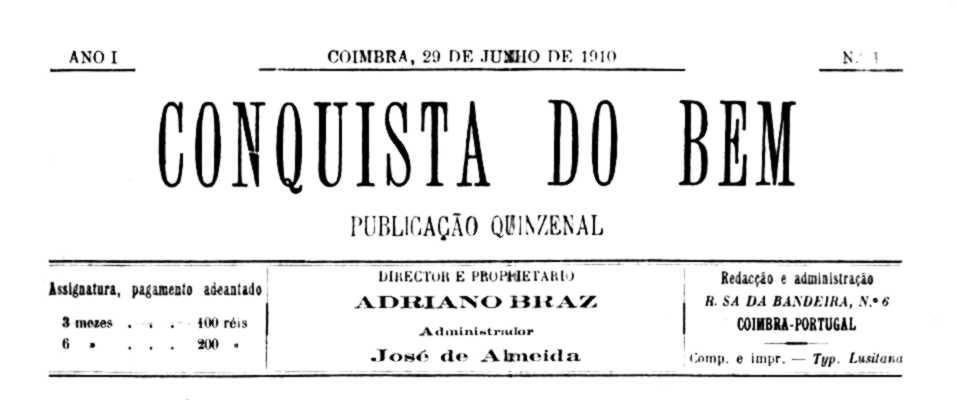 """Capçalera del primer número de """"Conquista do Bem"""""""