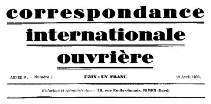 "Capçalera de ""Correspondance Internationale Ouvrière"""