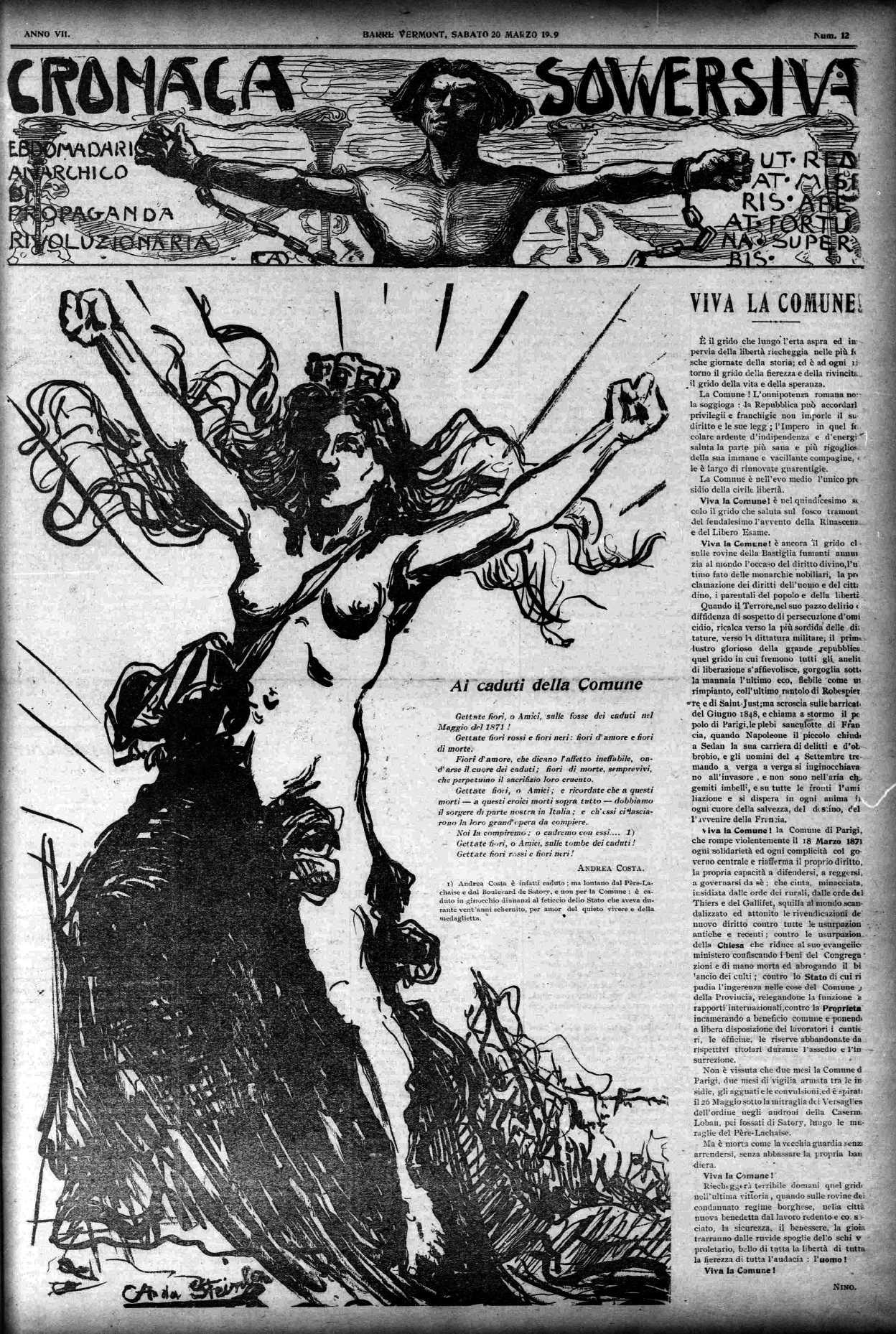 "Portada d'un exemplar de ""Cronaca Sovversiva"" dedicat a la Comuna de París"