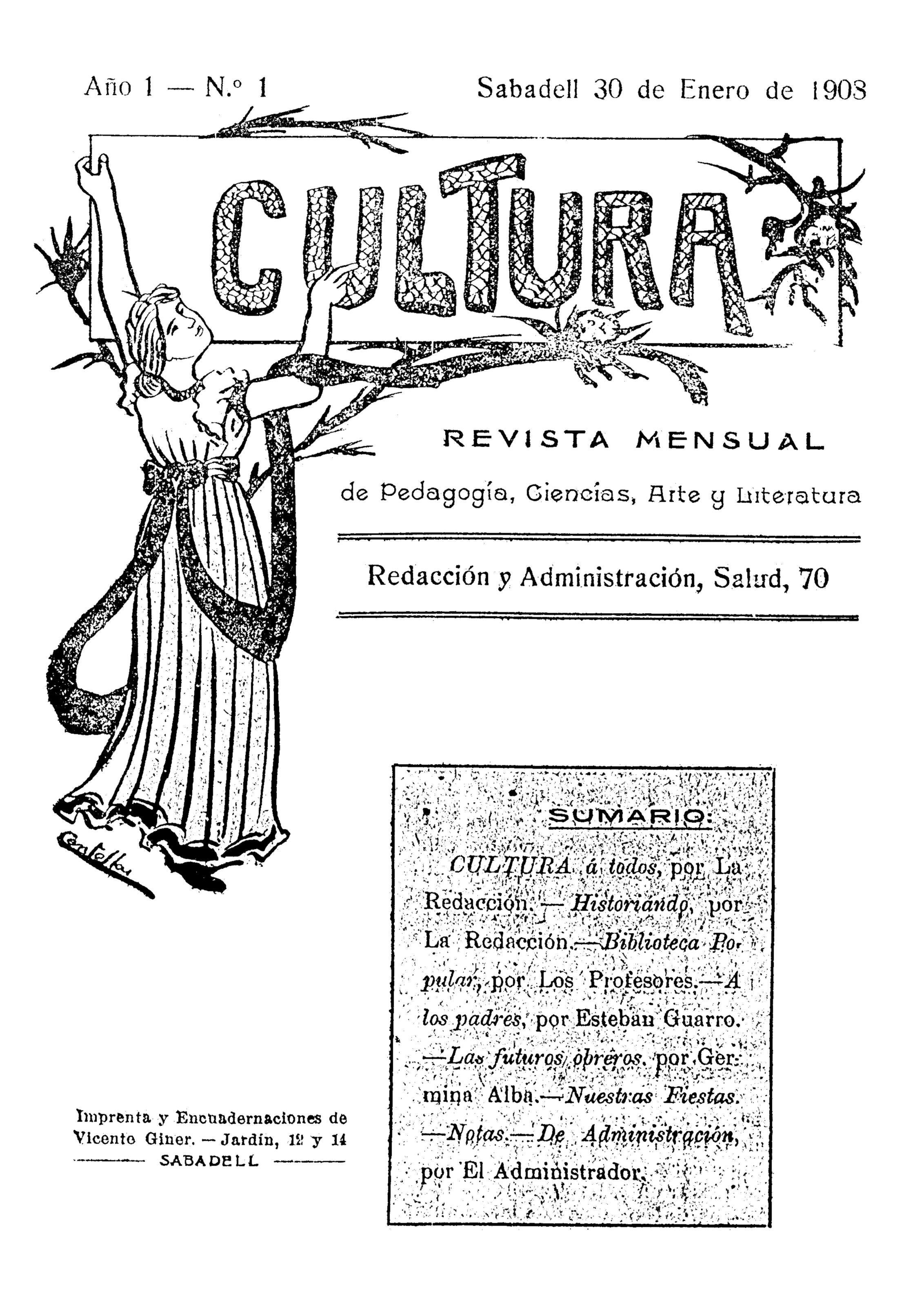 """Portada del primer número de """"Cultura"""""""