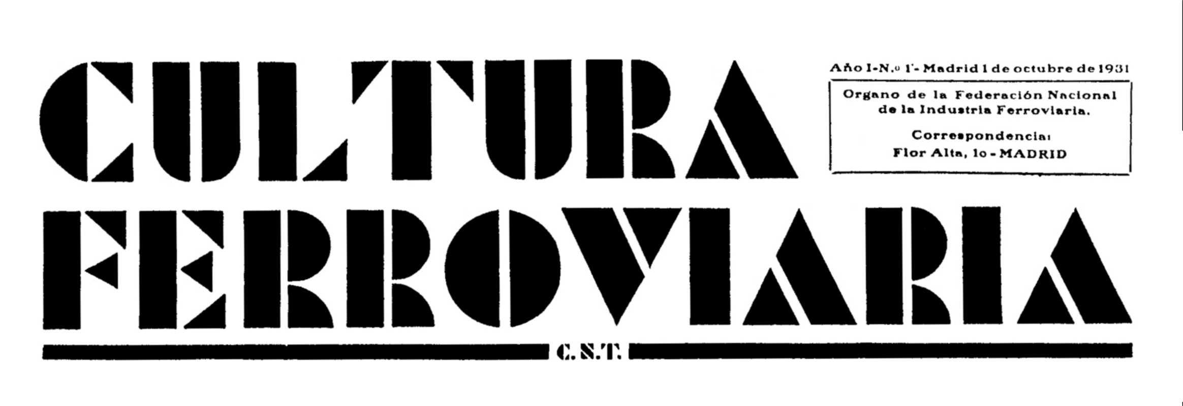 """Capçalera del primer número de """"Cultura Ferroviaria"""""""