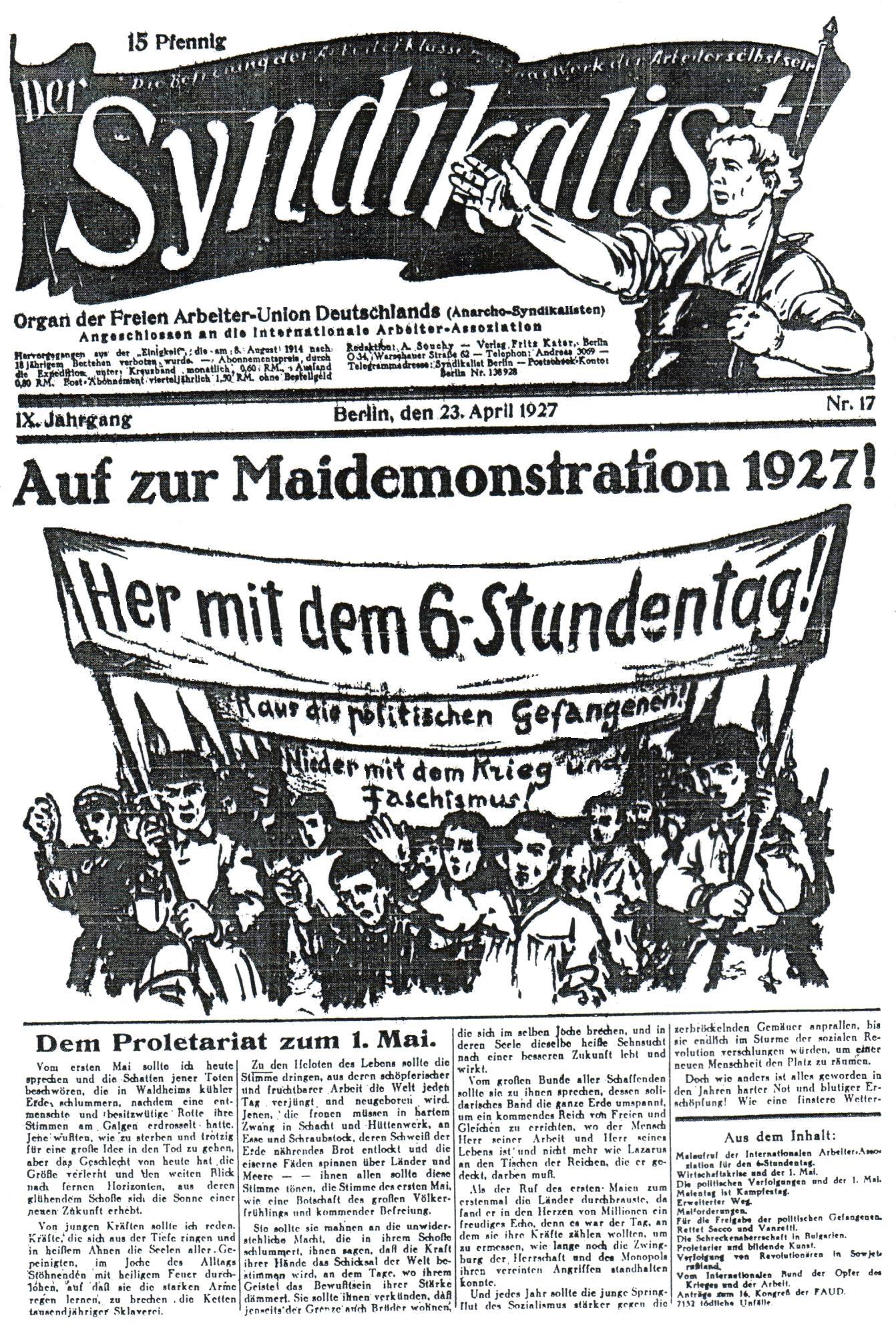 """Portada d'un exemplar de """"Der Syndikalist"""""""