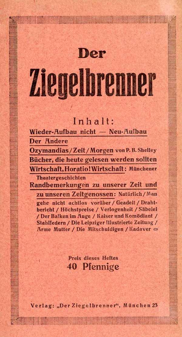 "Portada del primer número de ""Der Ziegelbrenner"""