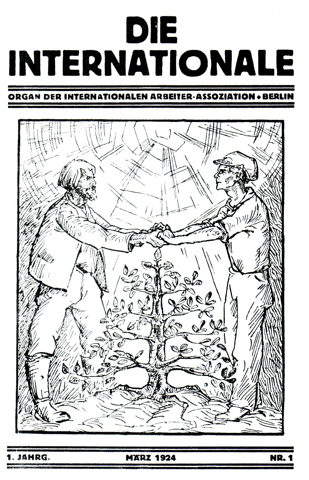 "Portada del primer número de ""Die Internationale"""