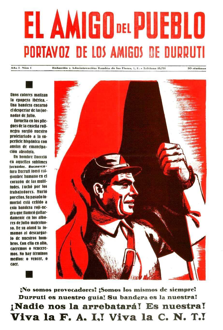 """Portada del primer número d'""""El Amigo del Pueblo"""""""