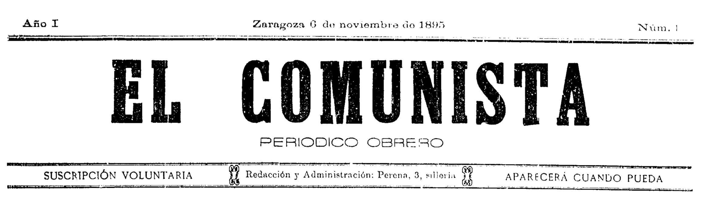 """Capçalera del primer número d'""""El Comunista"""""""