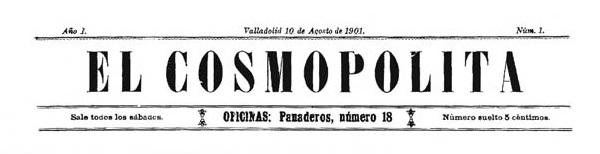 """Capçalera del primer número d'""""El Cosmopolita"""""""