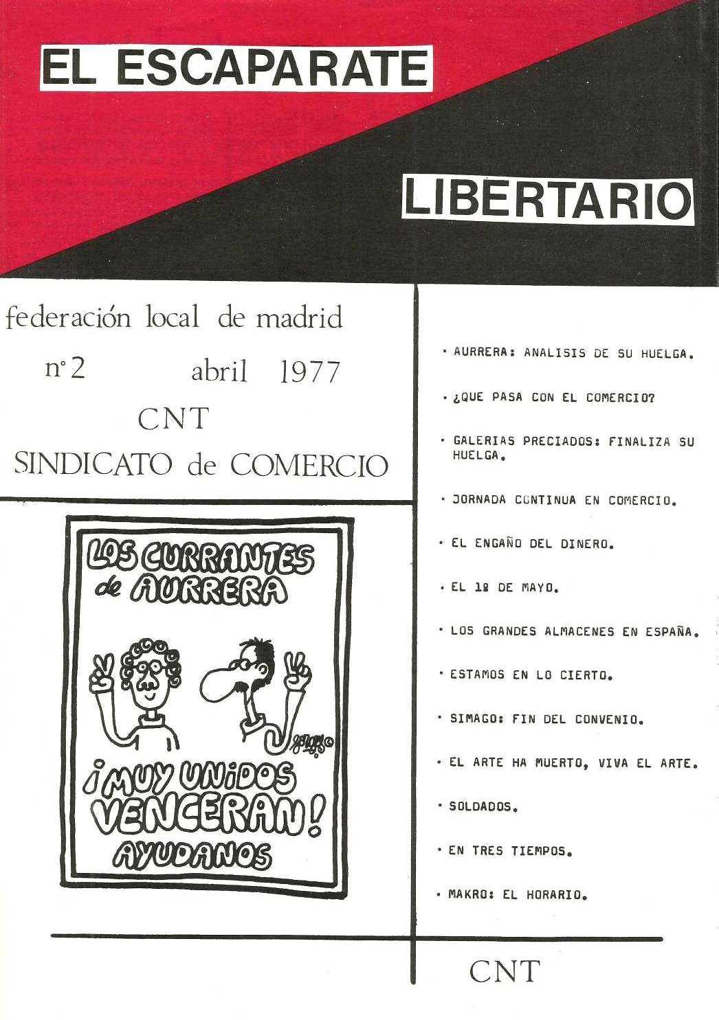 "Portada de segon número d'""El Escaparate Libertario"""