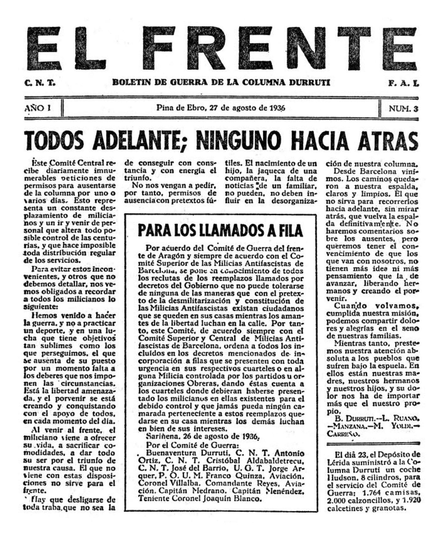 """Primera pàgina d'un exemplar d'""""El Frente"""""""