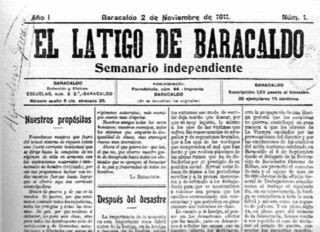 """Capçalera del primer número d'""""El Látigo de Baracaldo"""" amb la signatura d'Aquilino Gómez"""