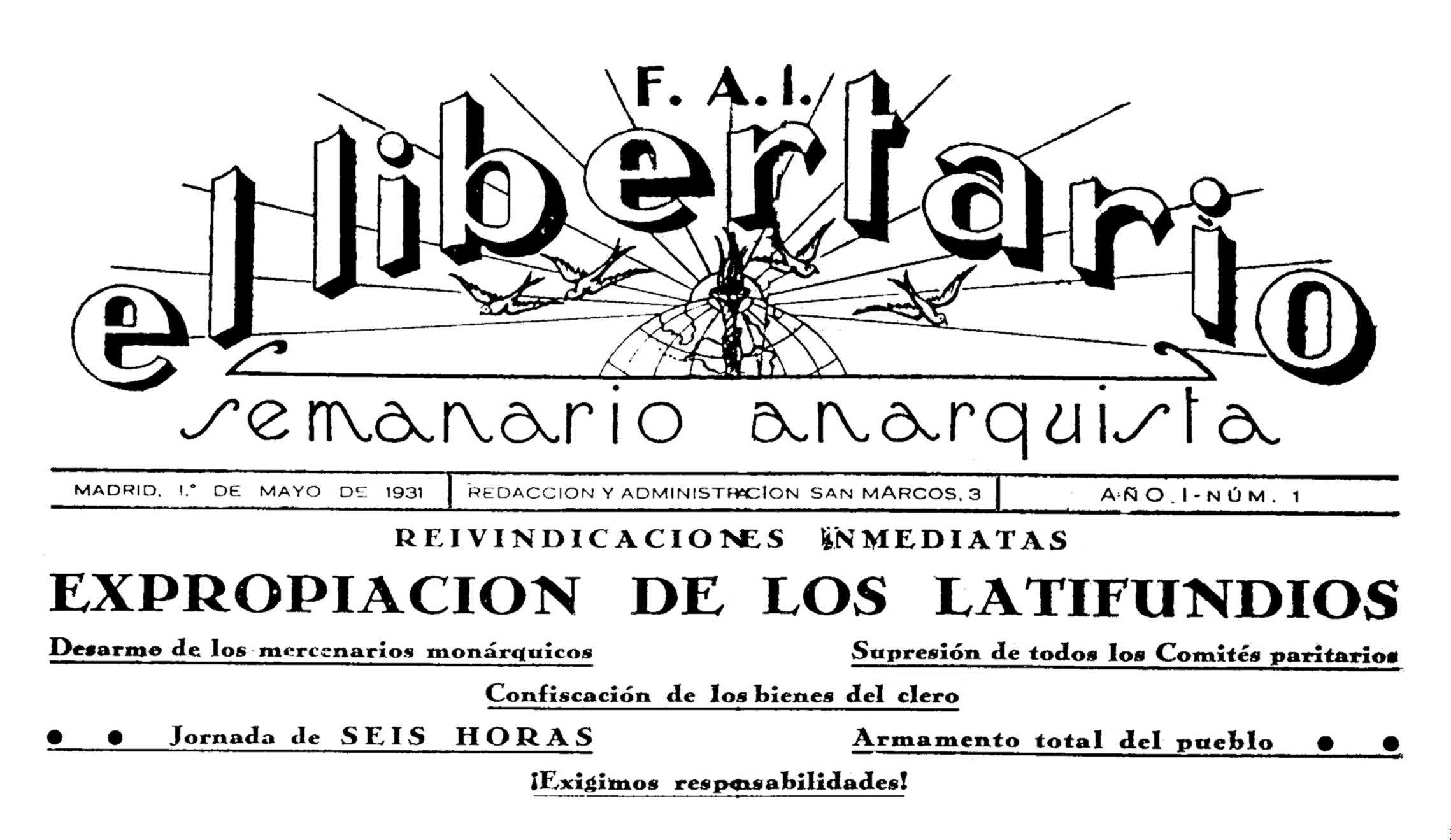 """Capçalera del primer número d'""""El Libertario"""""""