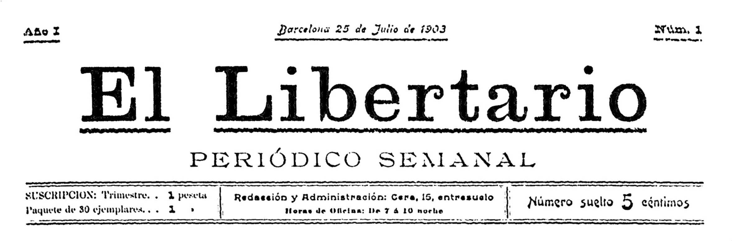 """Portada del primer número d'""""El Libertario"""""""