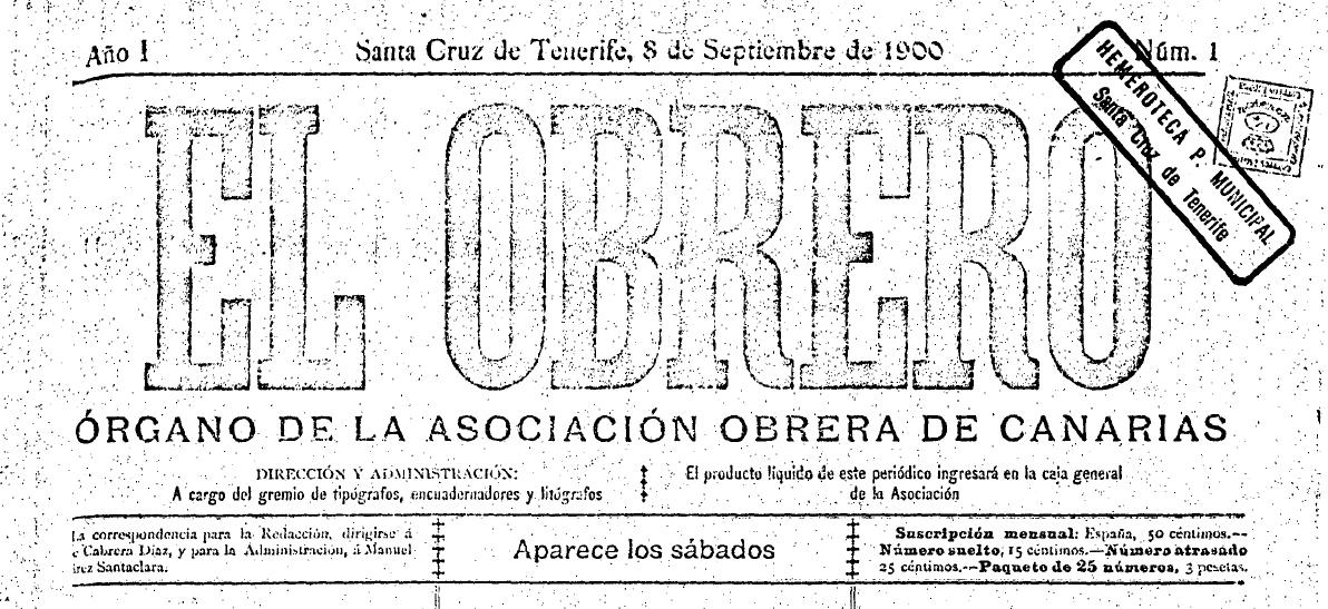 """Capçalera d'""""El Obrero"""""""