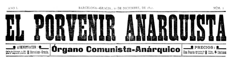 """Capçalera d'""""El Porvenir Anarquista"""""""