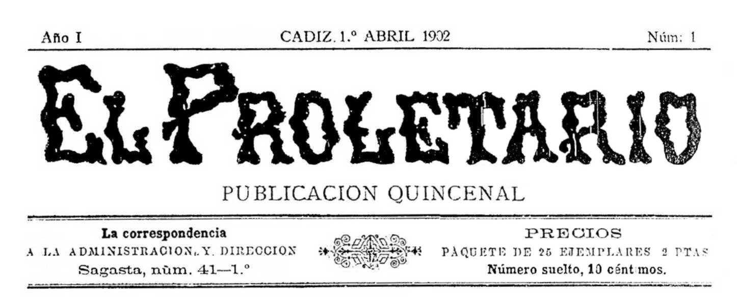 """Capçalera del primer número d'""""El Proletario"""""""