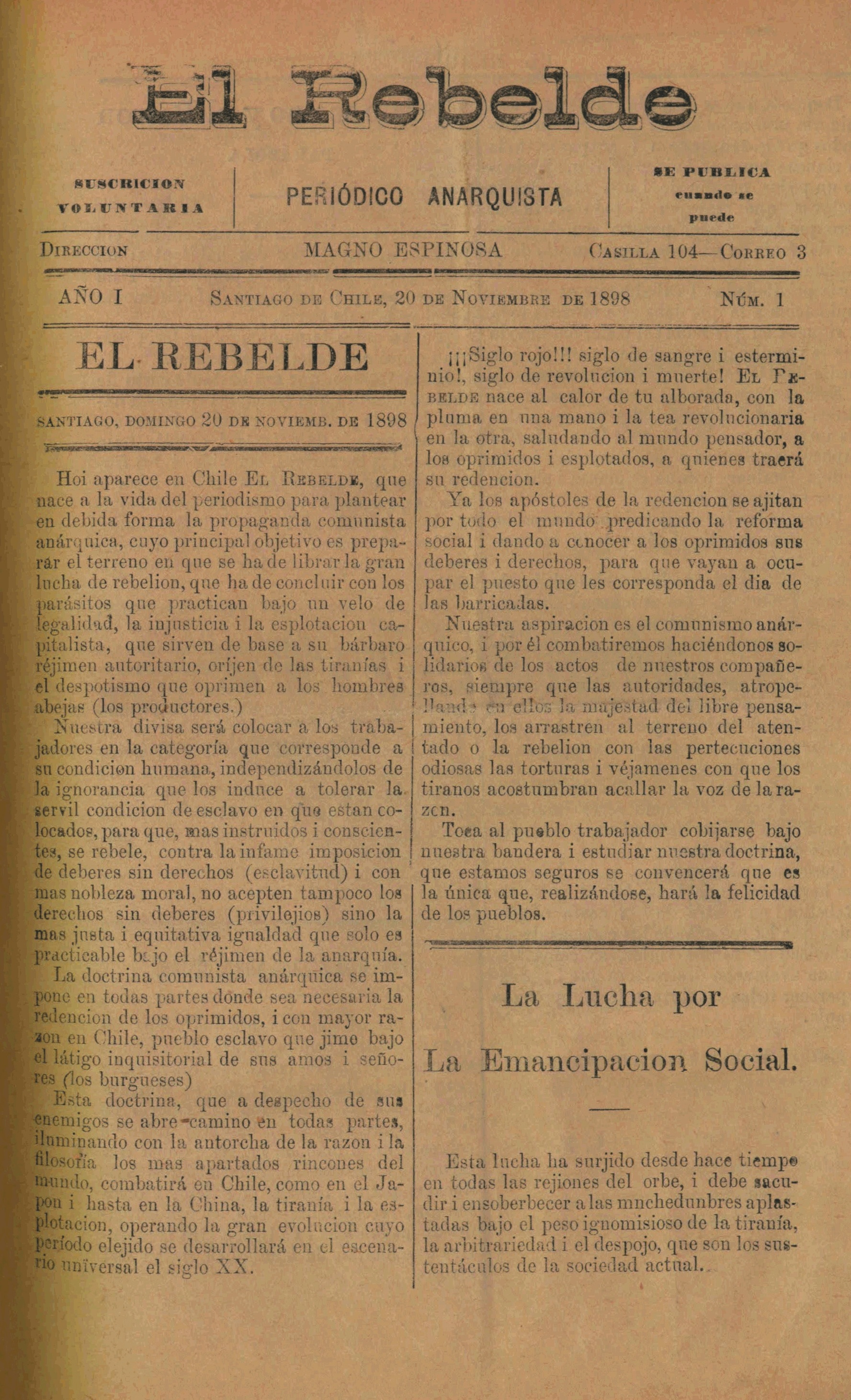 """Portada del primer número d'""""El Rebelde"""""""