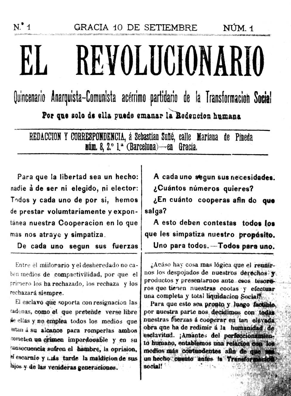 "Portada del primer número d'""El Revolucionario"""