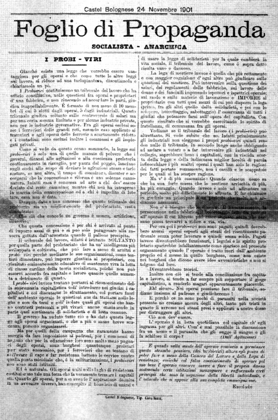 """El panfleto """"Foglio di Propaganda"""""""