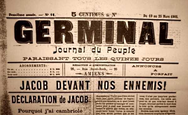 """Capçalera de """"Germinal"""" sobre el judici a l'anarquista Marius Jacob"""