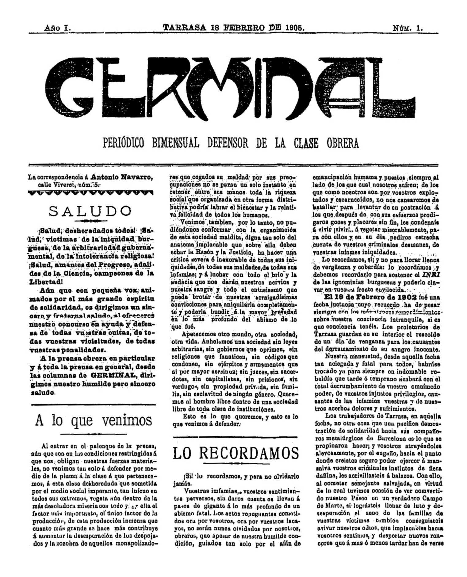 """Portada del primer número de """"Germinal"""""""