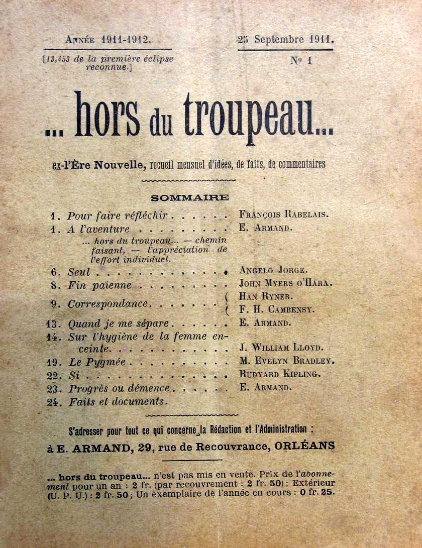 """Portada del primer número d'""""...hors du troupeau..."""" [CIRA-Lausana] Foto: Éric B. Coulaud"""