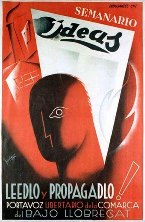 """Cartell propagandístic d'""""Ideas"""" del dibuixant J. Cadena"""
