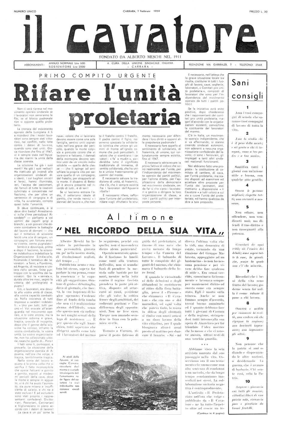 """Portada del número únic d'""""Il Cavatore"""""""