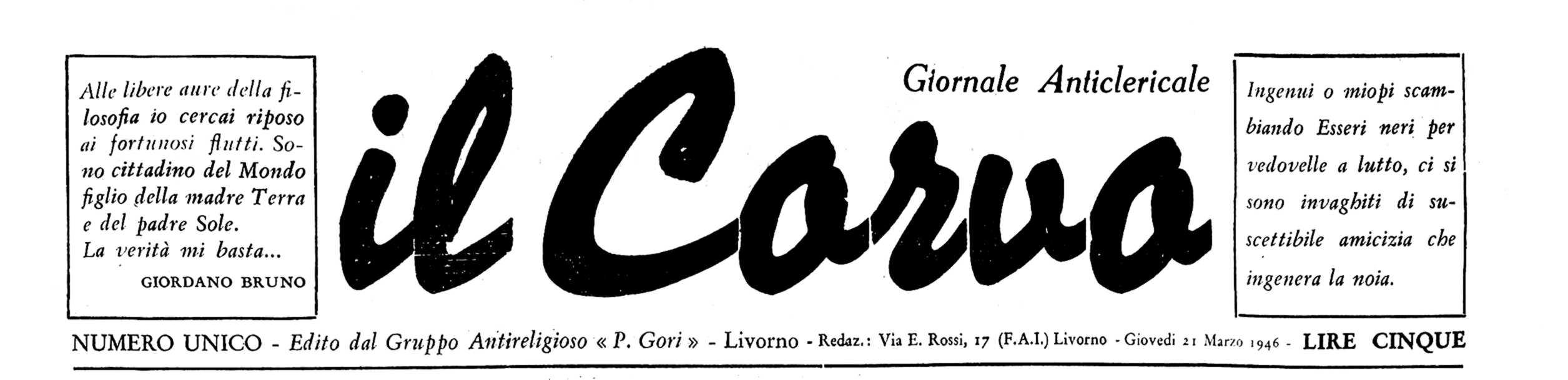 """Capçalera d'""""Il Corvo"""""""