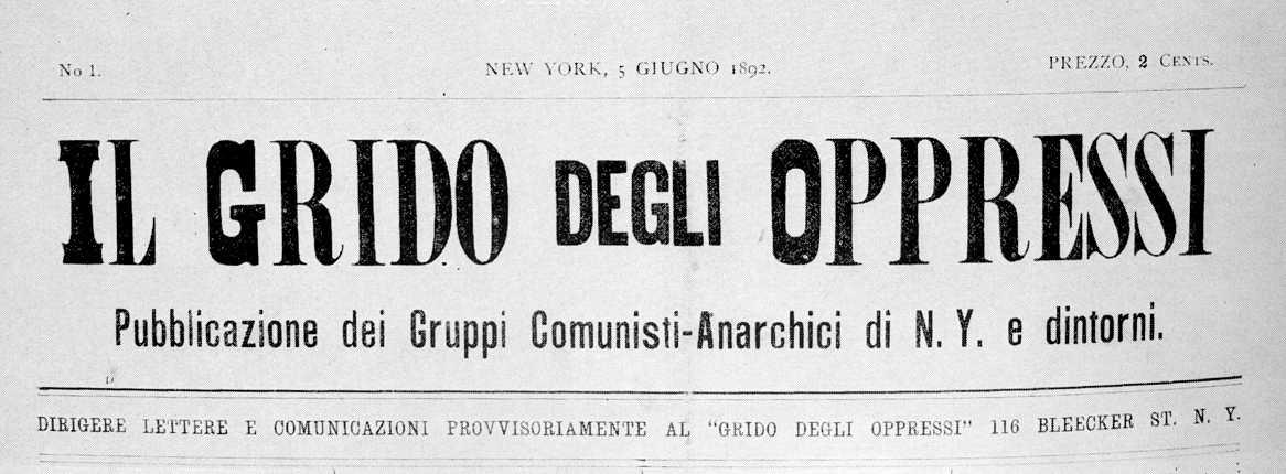 """Capçalera del primer número d'""""Il Grido degli Oppressi"""""""
